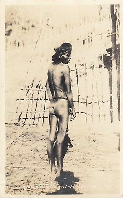 Real photo postcard man with a tail Philippines, interesting