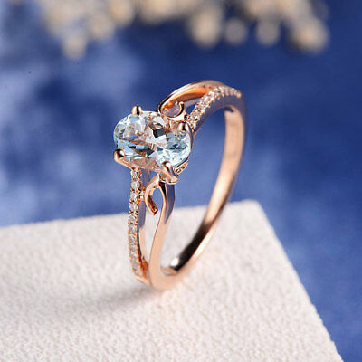 18K Gold Plated Aquamarine Women 925 Silver Wedding Gift Engagement Ring Sz5-10