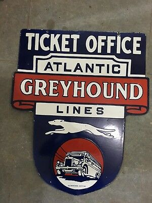"""Porcelain TICKET OFFICE ATLANTIC GREYHOUND Sign Size 25"""" x 29.5"""" Inches 2 sided"""