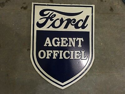 """Porcelain FORD AGENT OFFICIEL Sign SIZE 24"""" X 18"""" INCHES 2 SIDED"""