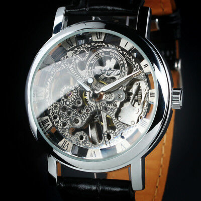 Mens Watch Automatic Silver Stainless Steel Case Skeleton Leather Analog Luxury