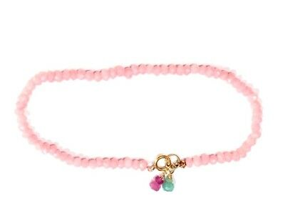 """very rare authentic knotted pink opal gemstone bracelet solid 14k gold 3mm 7"""""""