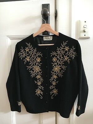 Vintage Black Gold floral Beaded 60s Sweater Cardigan