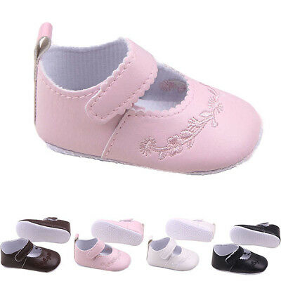 Infant Newborn Baby Girl PU Leather Soft Sole Princess Crib Shoes Kid 0-12 M USA