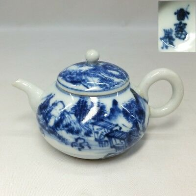 A114: Japanese OLD KYO-yaki blue-and-white porcelain teapot for SENCHA w/sign