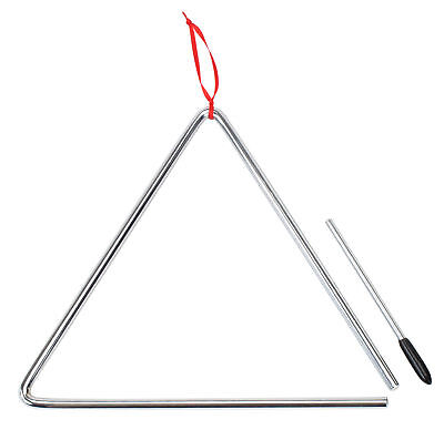 25 Cm Musical Triangle Percussion Instrument Set With Cord Beater  Steel Stick