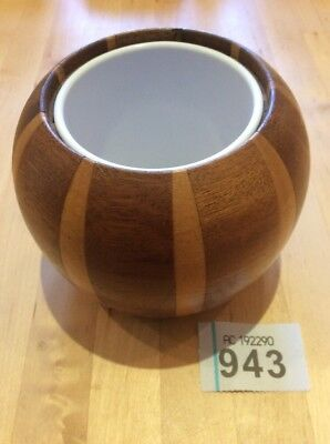 Vintage Treen Two-Toned Wooden Pot  With Plastic Lining Pencil Pot /utensil Pot