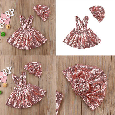 US Fashion Kids Baby Girls Sequin Suspender Skirt Dress Overalls Outfits Clothes