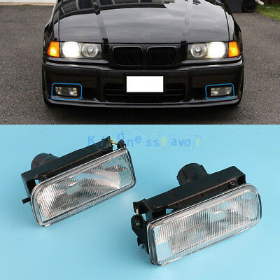 For BMW E36 3 SERIES 1990-2000 PAIR CLEAR FRONT FOG SPOT LIGHT LAMP