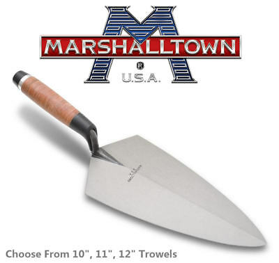 "MARSHALLTOWN Leather Grip Philadelphia Brick Trowel, Choose Size 10"" 11"" 12"""