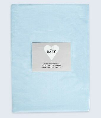 NEW M&S Marks & Spencer Baby *PACK OF 2* 100% Jersey Cotton Fitted Cot Sheets