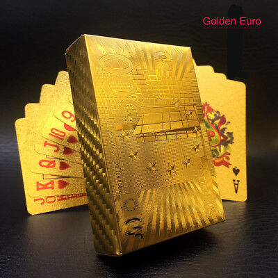 Golden Playing Cards Gold Foil Poker 24K Gold Plastic Waterproof Table Cards EUR