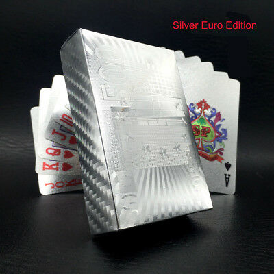 54 Deck Poker Waterproof Playing Cards Silver Plated Table Game Card Collection