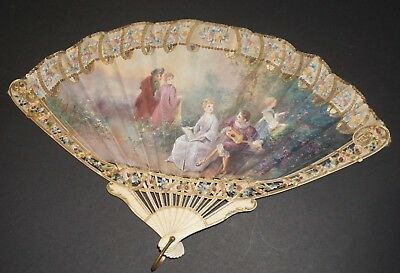 Rare Antique French Hand Painted Watteau Rococo Scene Balloon Shaped Fan Roses