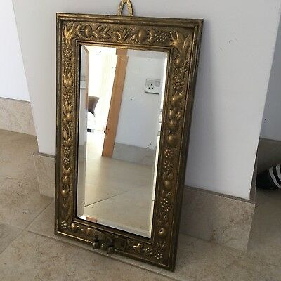 LB Vintage Wall Mirror Ornate Brass Frame Bevelled Glass Coat Hook H38xW23cm