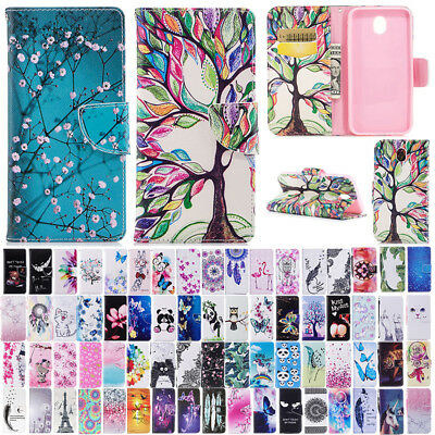 Patterned Magnetic Leather Flip Case Cover For Samsung Galaxy J3 J5 J7 Pro 2017