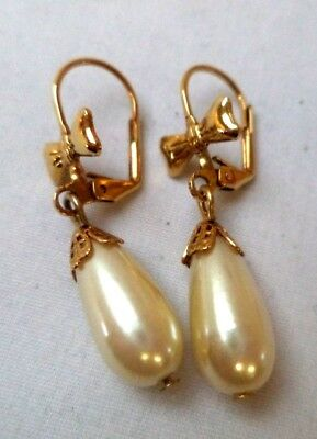 """Stunning Vintage Estate Faux Pearl Gold Tone Bow 1 3/8"""" Pierced Earrings!! 8902F"""