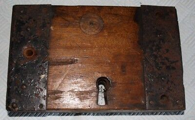 Antique Georgian wooden lock cover and lock and embelishments