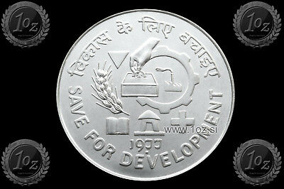INDIA (FAO) 50 RUPEES 1977 (Save for Development) SILVER Comm. Coin (KM#258) UNC
