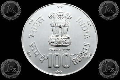 INDIA (FAO) 100 RUPEES 1981 ( WORLD FOOD DAY ) SILVER Commem. Coin (KM# 276) UNC