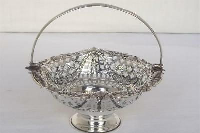 A Superb Solid Sterling Silver Victorian Swing Handled Basket London 1896.