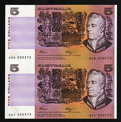 R212 $5 Fraser/ Higgins Uncut Pair without Selvedge from Note Printing Australia