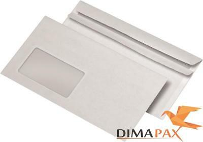1000 Envelopes Din Long Self Adhesive with Window White Sk