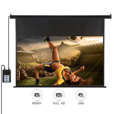 """100""""16:9 HD 3D Electric Motorized Auto Projector Screen W/Remote Control Up/Down"""