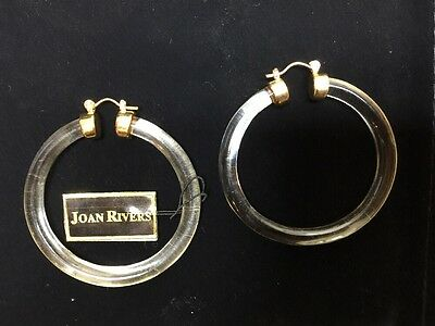 Joan Rivers Lucite Hoop Earrings w/ 14KT Gold Plated End Caps              BN215
