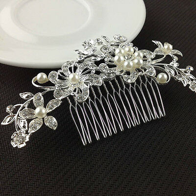 Bridal Silver Wedding Flower Pearls Hair Comb Clip Diamante Crystal Rhinestone