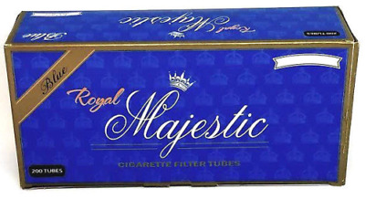 1x Box Royal Majestic Light KING SIZE Blue ( 200 Tubes ) Cigarette Tube Tobacco