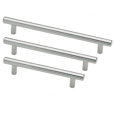 20 x T Bar Handles Polished Chrome Solid Steel Kitchen Cupboard Doors 128mm HC