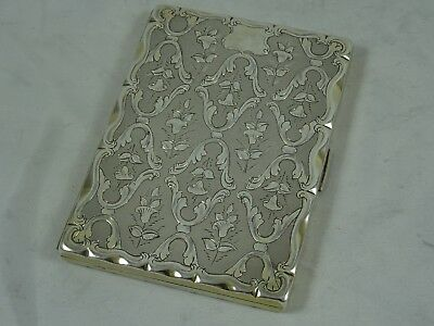 STUNNING, VICTORIAN solid  silver CARD CASE, 1859, 85gm