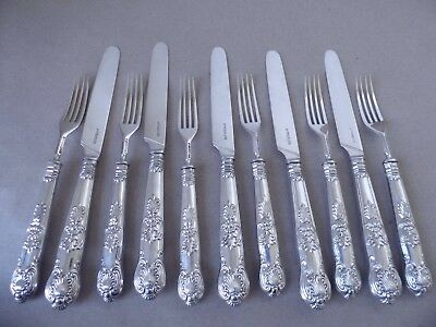 Beautiful Wm.iv Sterling Silver Crest Queens Dessert Eaters Knives & Forks 1831