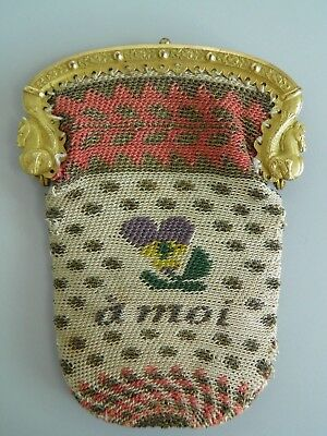 Superb Antique 19thc Reticule/Purse/Knit/Pansy Motif + a moi / Palais Royal