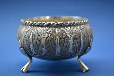 Antique Vintage White Metal Indian Silver Open Salts (B22/243)