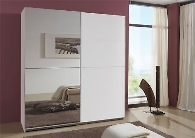 German Queen White 2 Door 180cm Sliding Slider 2 Door Wardrobe
