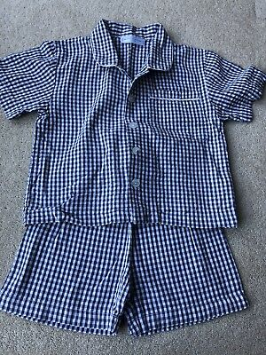 Boys *LITTLE WHITE COMPANY* Blue White Pyjamas Age 2-3 In Good Condition