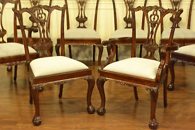 8 Leighton Hall Traditional Ball and Claw Mahogany Chippendale Dining Chairs