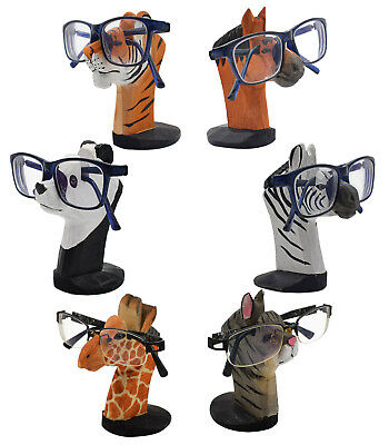 Eyeglass Holder Glasses Stand Wooden Animal Figurine Home Desk Decor Organizer