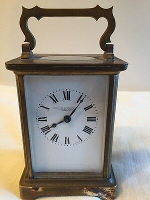 Old Antique 19th C. Goldsmiths & Silversmiths London Carriage Clock Brass French