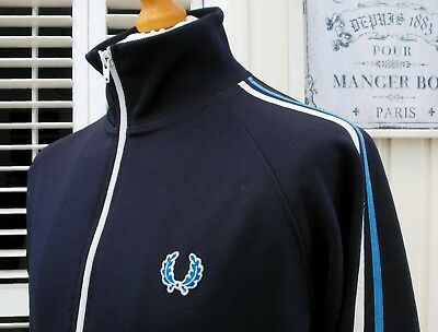Fred Perry Navy Twin Taped Track Jacket - L/XL - Ska Mod Scooter Casuals Skins