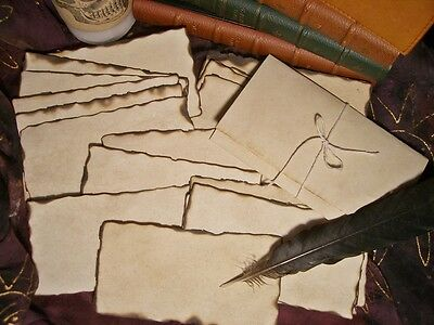 20 'PARCHMENT' PAPERS BURNED EDGES Spells-MESSAGE IN A BOTTLE-Halloween-Pirates