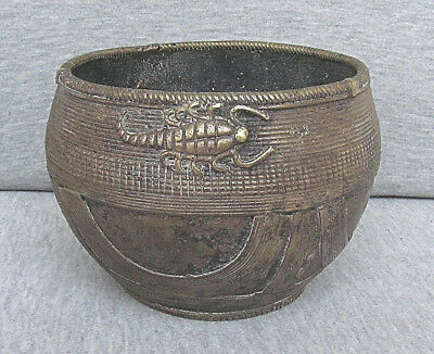 INDIA ANTIQUE DHOKRA FROM ORRISA PATINA BRONZE RICE MEASURE BOWL with SCORPIO