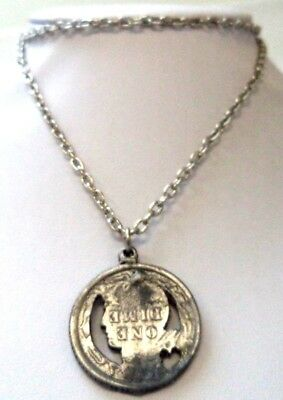 """Stunning Vintage Estate Silver Tone Faux Coin 25"""" Necklace!!!! 8911M"""