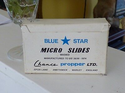 Old Vintage  Blank Glass Micro Microscope Slides, Blue Star Micro Slides 100