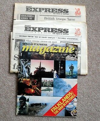 two copies Daily Express & one Sunday Express mag Falklands War 1982