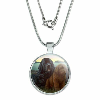 """Newfoundland Dogs Puppies Countryside 1"""" Pendant w/ Silver Plated Chain"""