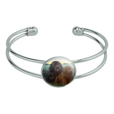 Newfoundland Dogs Puppies Countryside Silver Plated Metal Cuff Bracelet