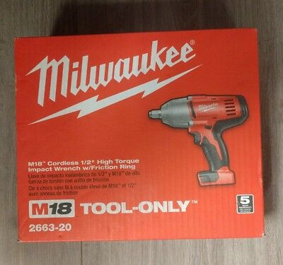 """Milwaukee M18 Cordless 1/2"""" High Torque Impact Wrench w/ Friction Ring - 2663-20"""